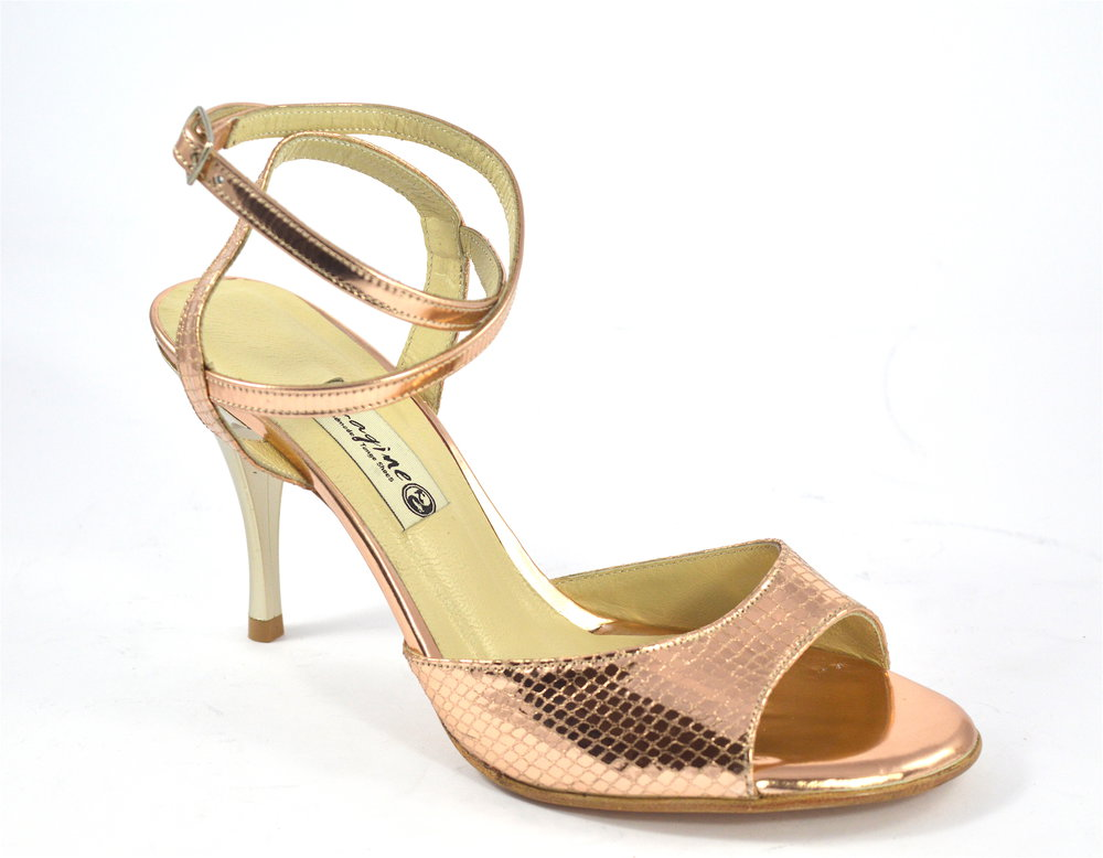 Women's Argentine Tango Dance Shoes, open heel style, by rose-gold bronze soft snake leather