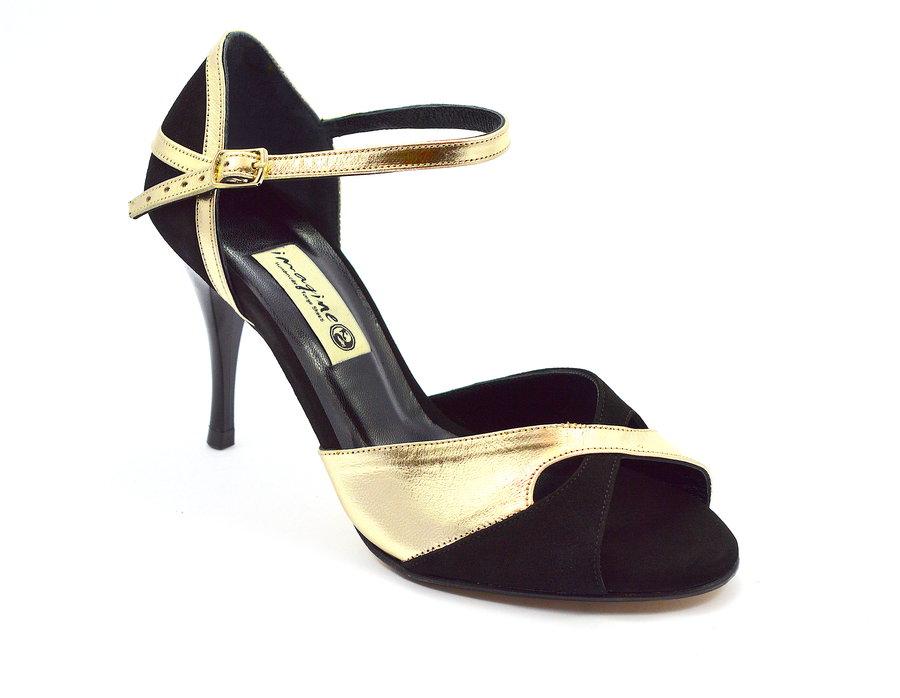 211e7c21b3f Γυναικείο παπούτσι χορού αργεντίνικου tango peep toe από μαύρο σουέτ και  χρυσό μαλακό δέρμα