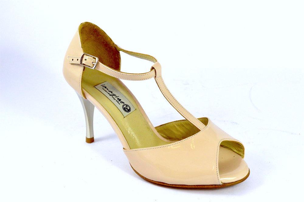 Γυναικείο παπούτσι χορού αργεντίνικου τάνγκο, peep toe από nude λουστρίνι