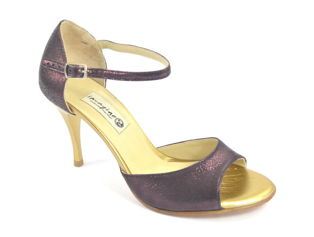 Γυναικείο παπούτσι tango open toe από μωβ-μπορντο και χρυσό δέρμα