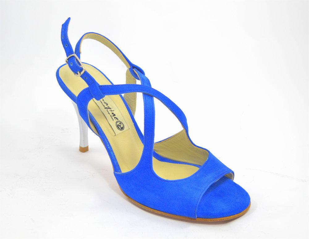 Γυναικείο παπούτσι χορού αργεντίνικου tango open heel από μπλε σουέτ δέρμα