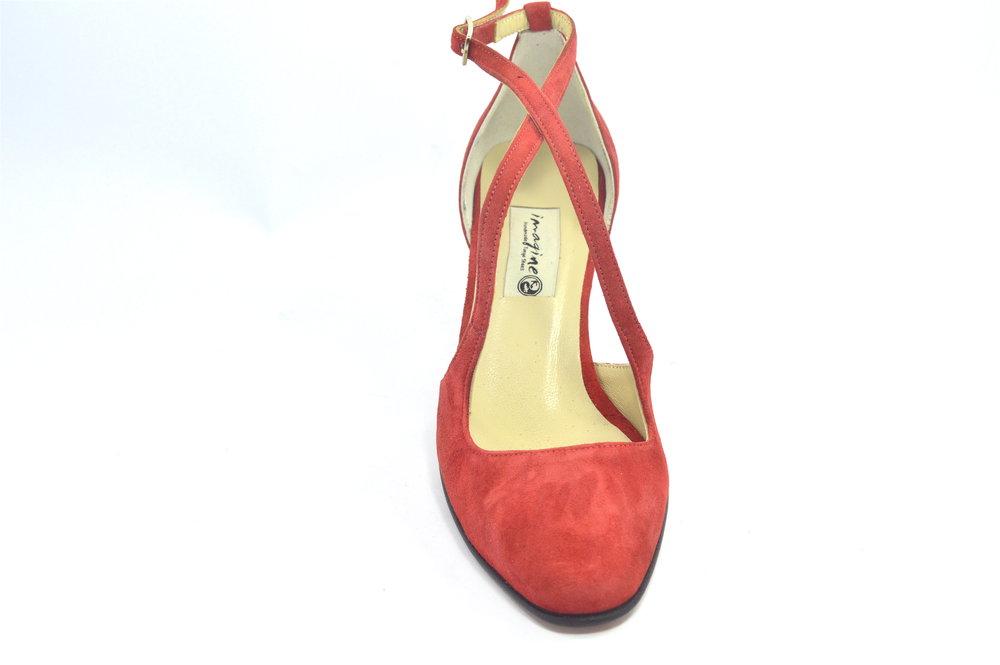 Γυναικείο παπούτσι χορού, closed toe από κόκκινο σουέτ δέρμα