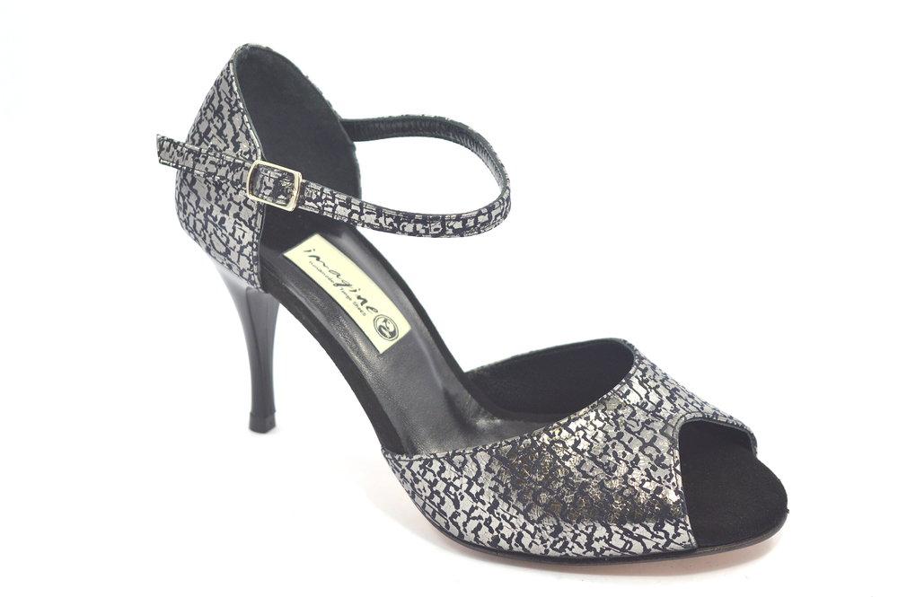 Γυναικείο παπούτσι χορού αργεντίνικου tango peep toe από μαύρο-ασημί μαλακό δέρμα