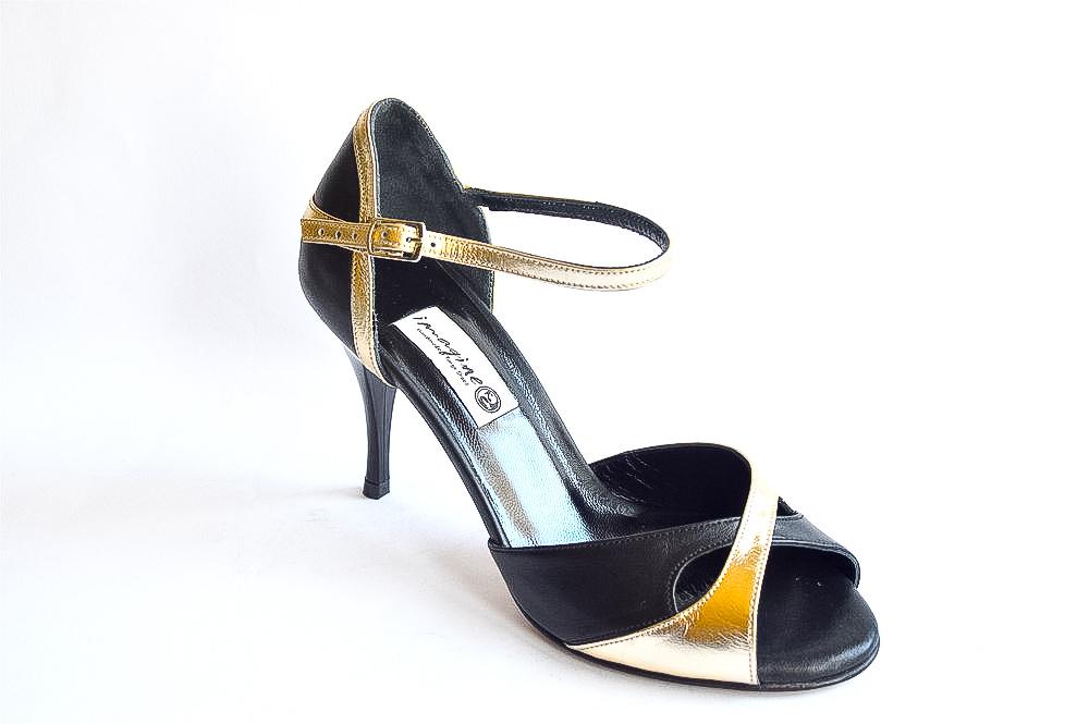 60258ec3128 Γυναικείο παπούτσι χορού αργεντίνικου tango peep toe από μαύρο και χρυσό μαλακό  δέρμα
