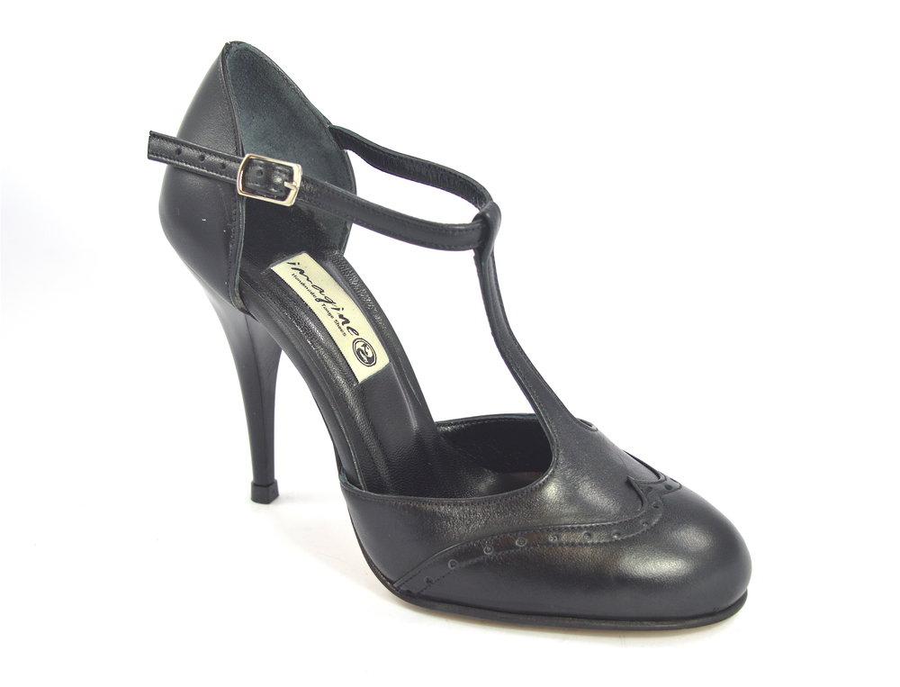 Γυναικείο παπούτσι χορού tango closed toe από μαλακό μαύρο δέρμα