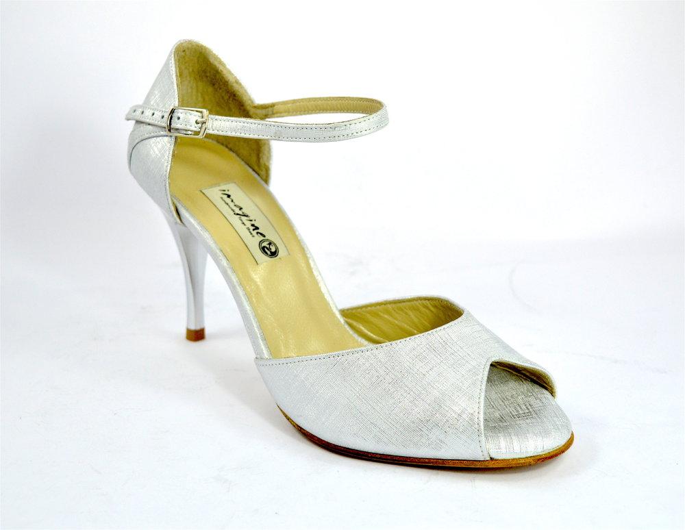 Γυναικείο παπούτσι tango peep toe από ιδιαίτερο λευκό-ασημί δέρμα