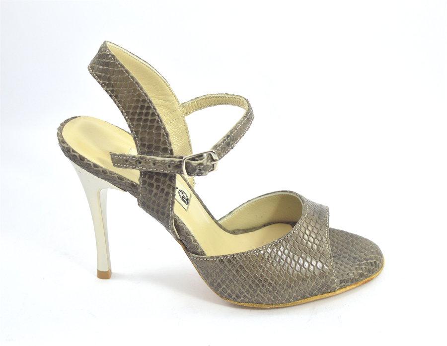 Γυναικείο παπούτσι χορού αργεντίνικου tango open heel από διακριτικό ανοιχτό καφέ δέρμα φίδι