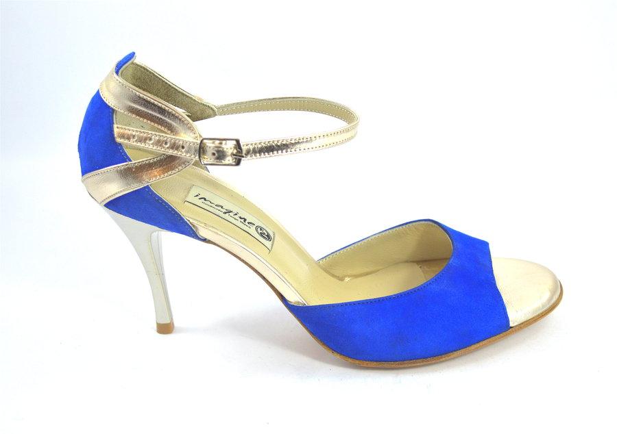 Γυναικείο παπούτσι χορού αργεντίνικου tango, open toe από μπλε σουετ και χρυσό δέρμα
