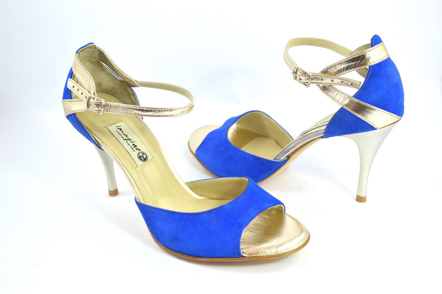 Women Argentine Tango Shoe, in blue suede and gold soft leather