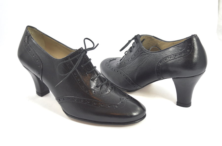 Women's Argentine Tango Shoe, oxford style, by soft black leather