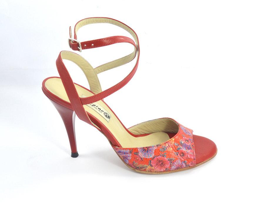 Γυναικείο παπούτσι tango open heel από κόκκινο δέρμα