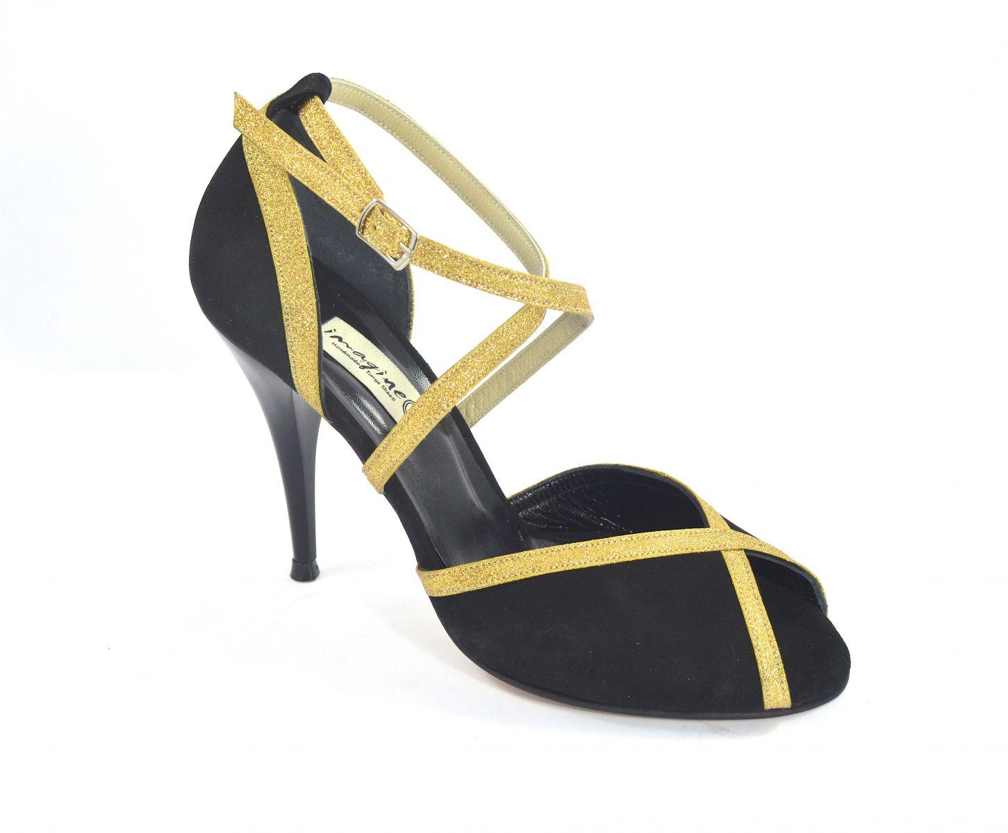 Γυναικείο παπούτσι tango peep toe από μαύρο σουέτ και χρυσό γκλίτερ