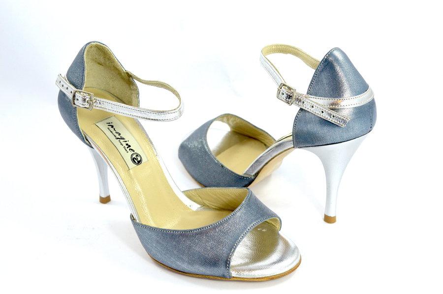 Γυναικείο Παπούτσι Tango Open Toe από εντυπωσιακό μαλακό μπλε-ασημί δέρμα πέρλα