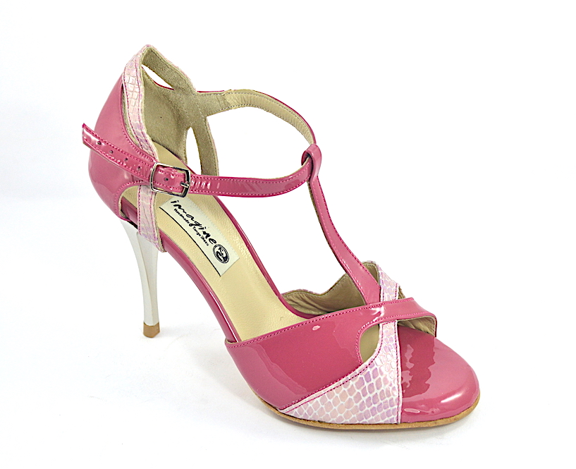 Women's Tango Shoe, peep toe by crimson patent and pink snake leather