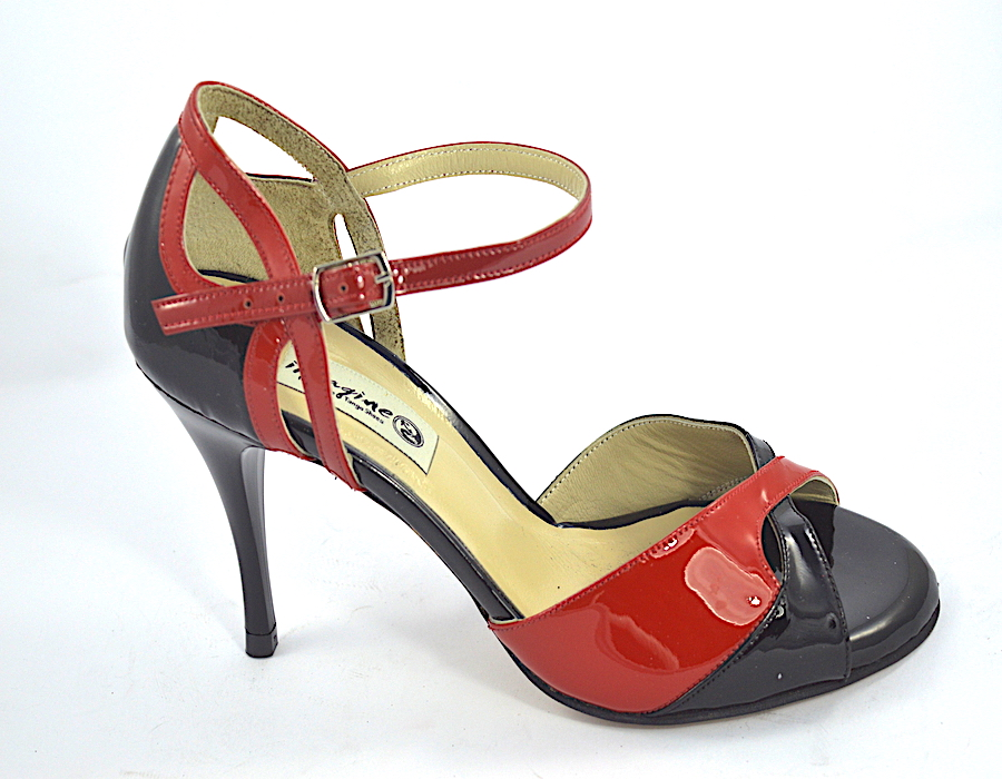 Γυναικείο παπούτσι tango peep toe από μαύρο και κόκκινο δέρμα λουστρίνι