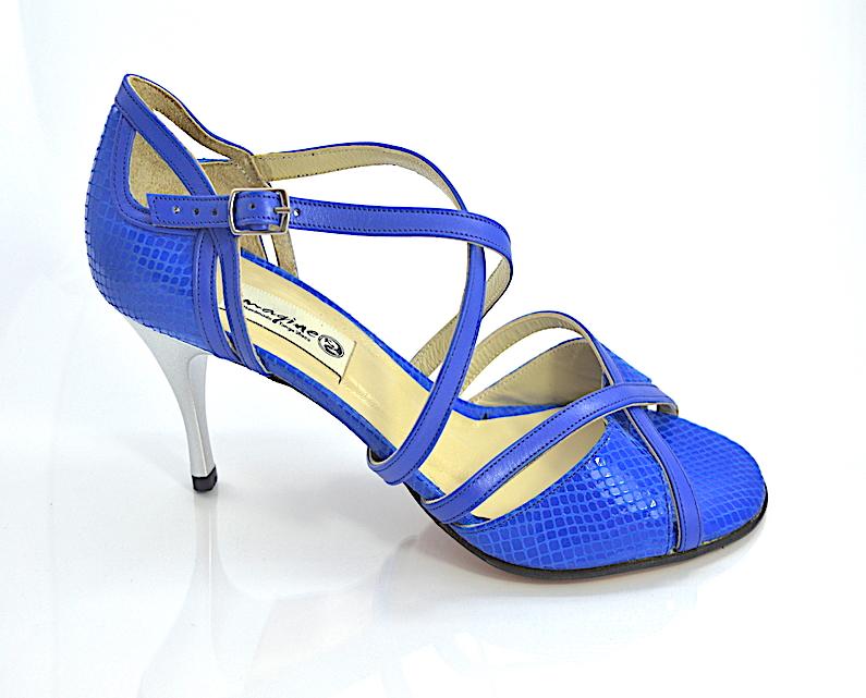 Γυναικείο παπούτσι tango από μπλε δέρμα φίδι και μπλέ ματ δέρμα