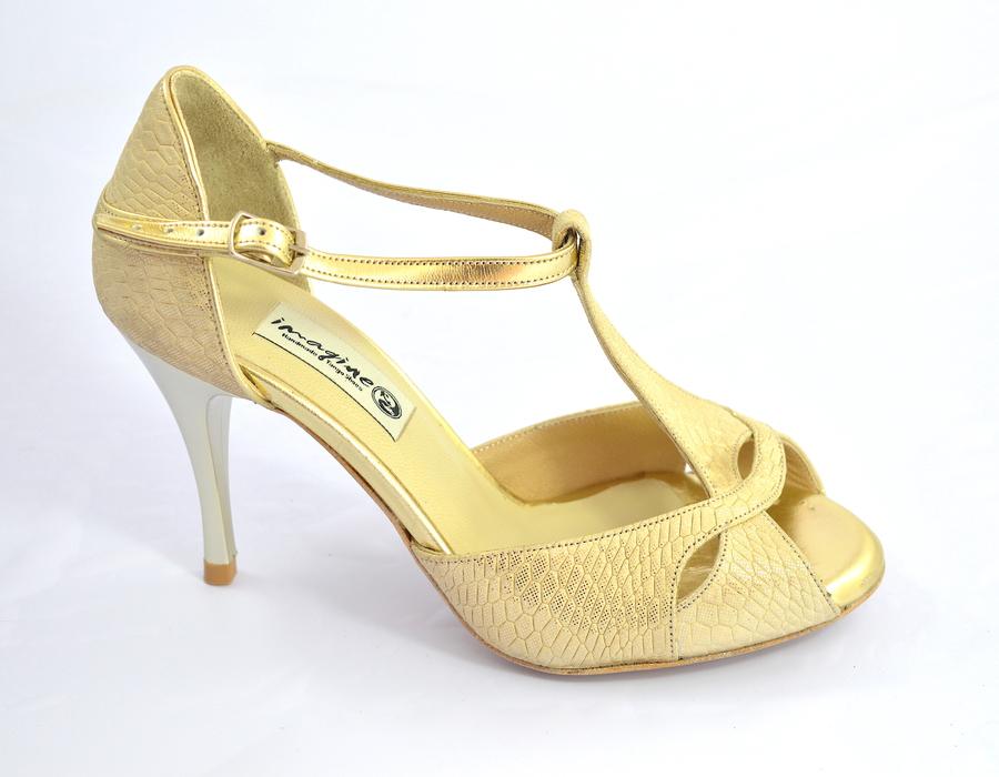 Γυναικείο παπούτσι αργεντίνικου tango peep toe από μαλακό μπεζ-χρυσό δέρμα