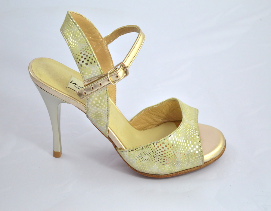 Γυναικείο παπούτσι tango open heel από ανοιχτό χρυσό δέρμα και χρυσο-πράσινα σχέδια