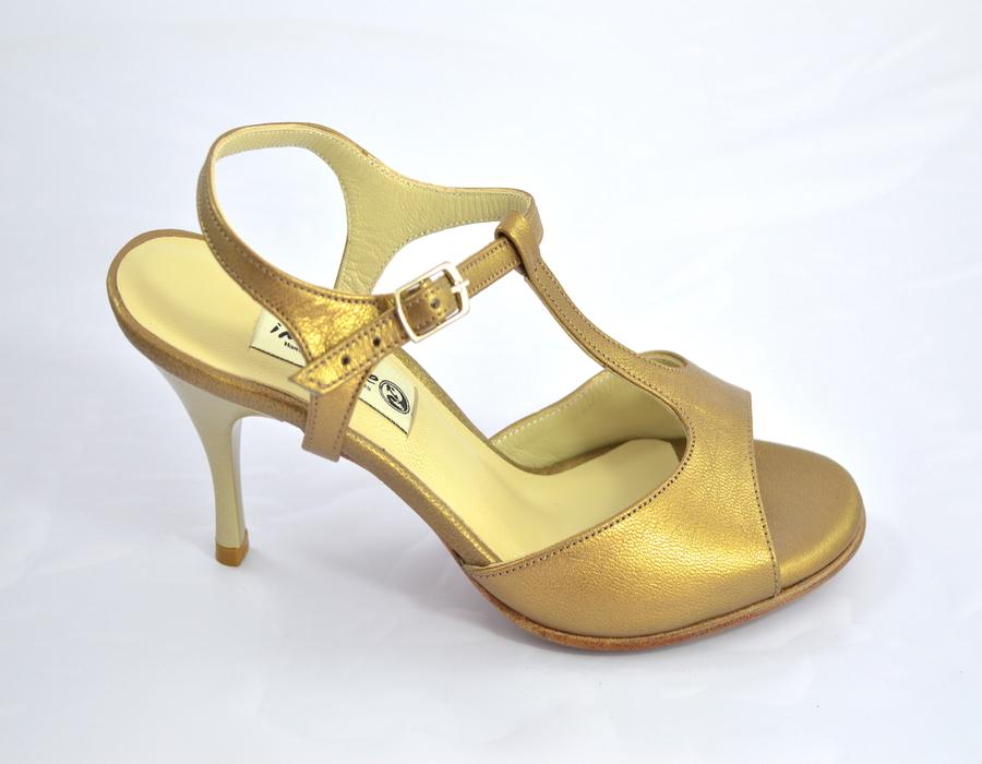 Γυναικείο παπούτσι tango open heel από χρυσό-μπρονζέ δέρμα