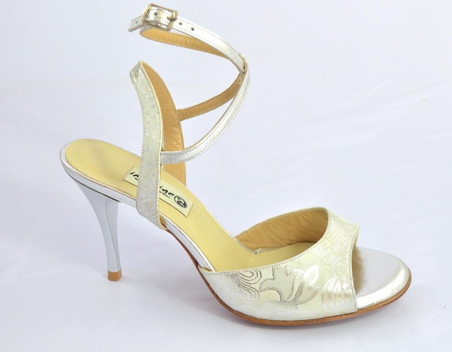 Γυναικείο παπούτσι tango open heel από ασημί δέρμα και λευκά floral σχέδια