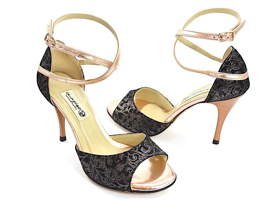 Γυναικείο Παπούτσι Tango Open Toe από εντυπωσιακό μαλακό μαύρο λαχούρι με χρυσό-ροζ δέρμα