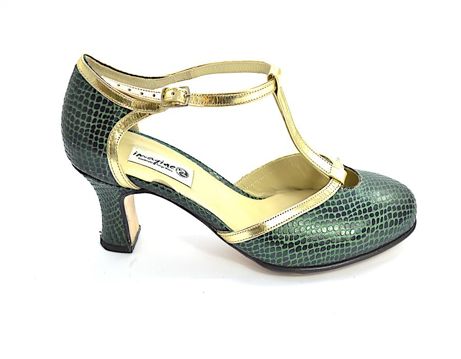Γυναικείο παπούτσι tango closed toe από πράσινο και χρυσό δέρμα