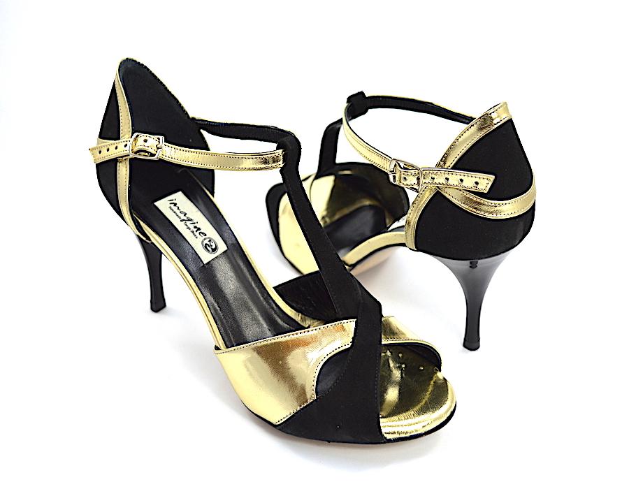 Γυναικείο παπούτσι tango peep toe από χρυσό δέρμα και μαύρο σουέτ δέρμα