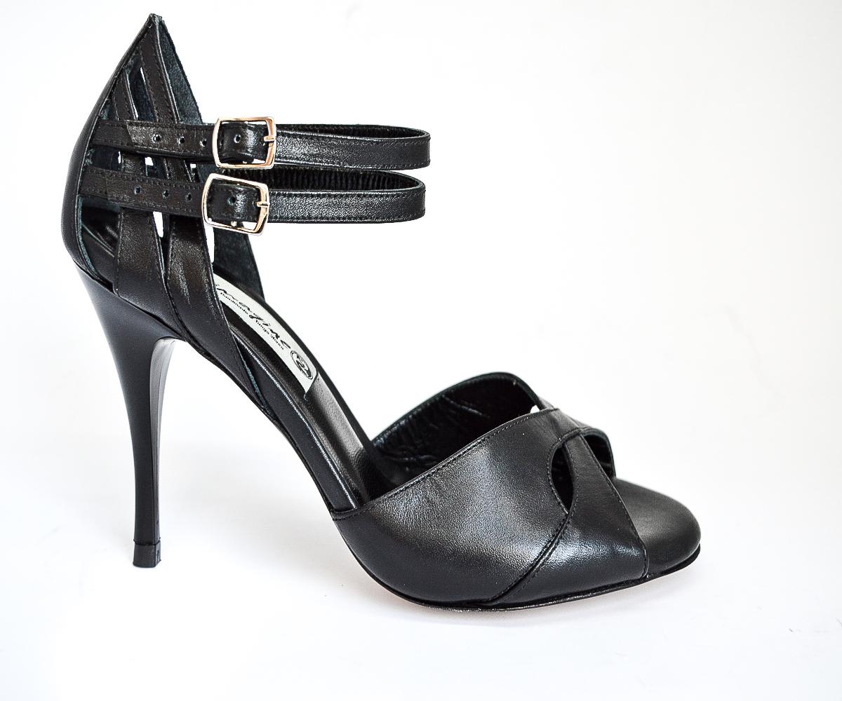 Γυναικείο παπούτσι χορού αργεντίνικου tango peep toe από μαύρο δέρμα