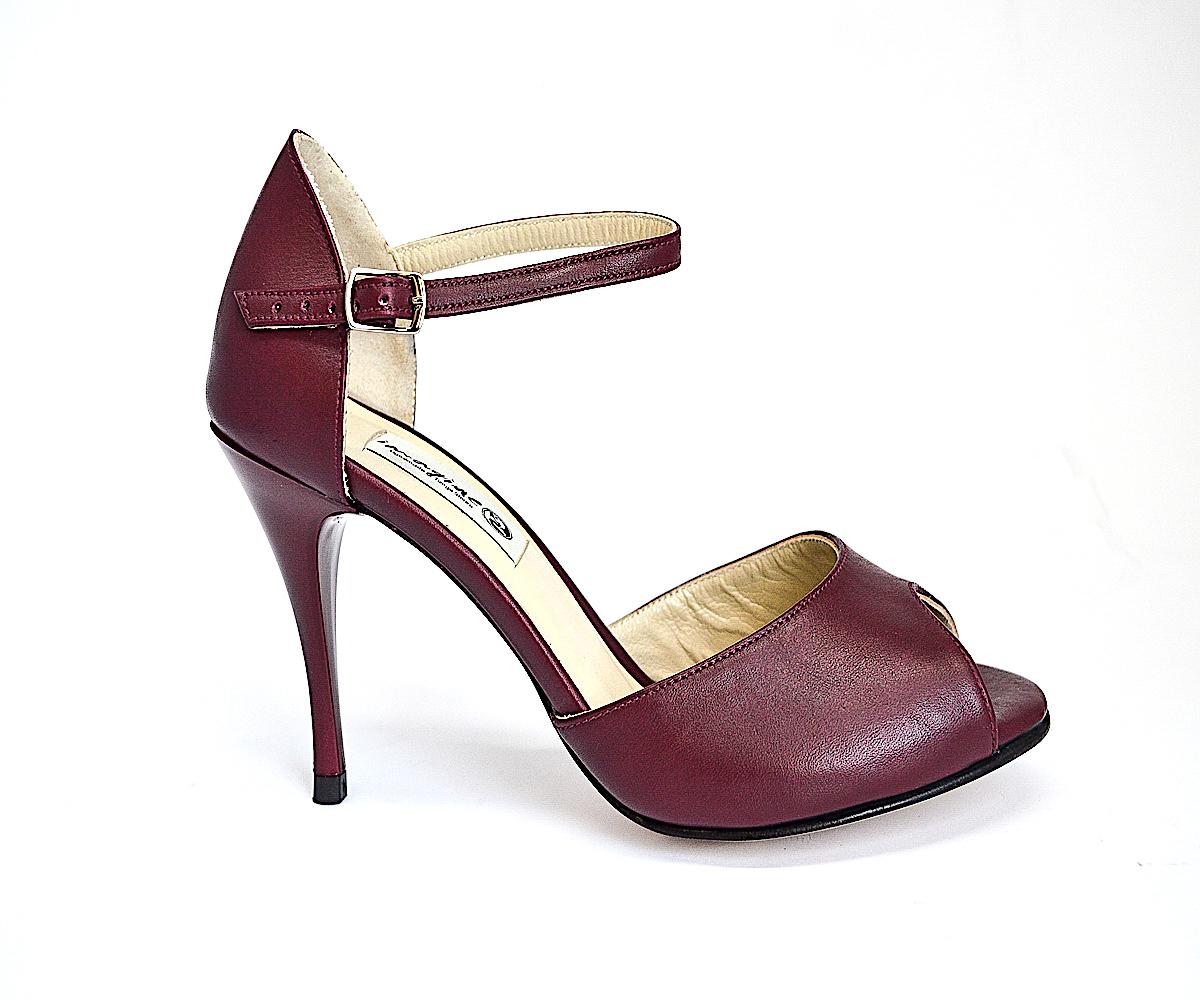 Γυναικείο Παπούτσι Tango Peep Toe από μαλακό μπορντό δέρμα