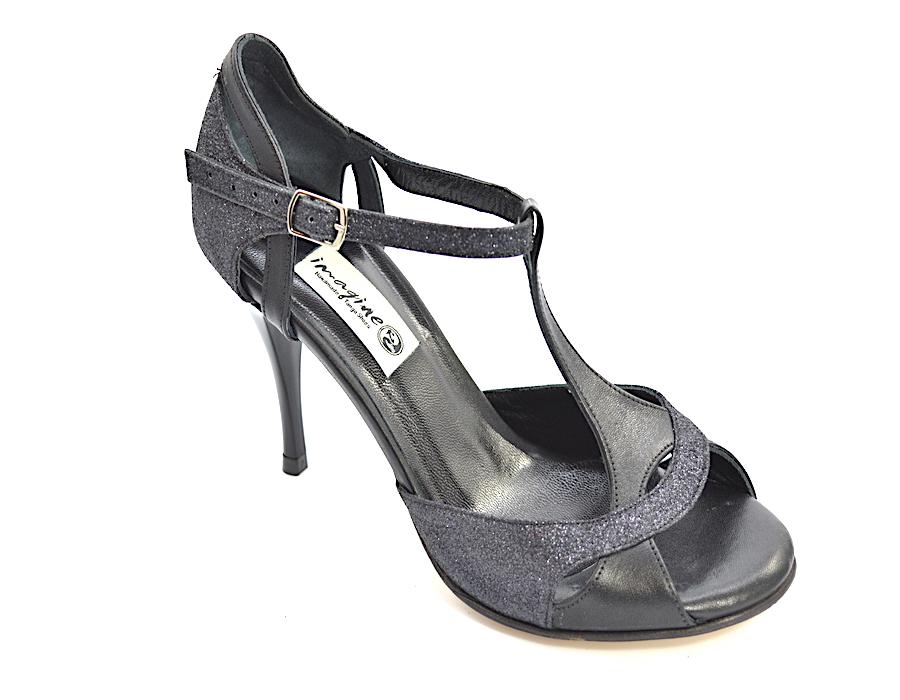 Γυναικείο παπούτσι αργεντίνικου tango peep toe από μαλακό μαύρο δέρμα και μαύρο γκλίτερ