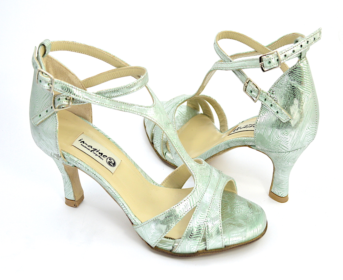 Γυναικείο παπούτσι tango open toe από εντυπωσιακό ασημο-πράσινο δέρμα