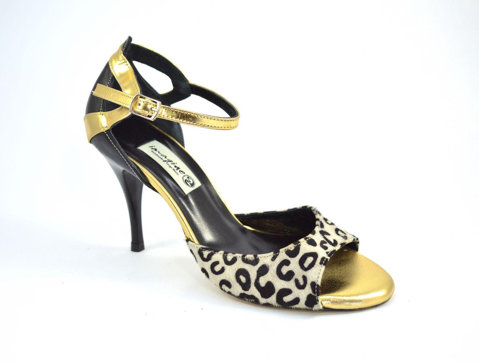 Γυναικείο παπούτσι Tango, από ασπρόμαυρο λεοπάρ και μαύρο-χρυσό δέρμα