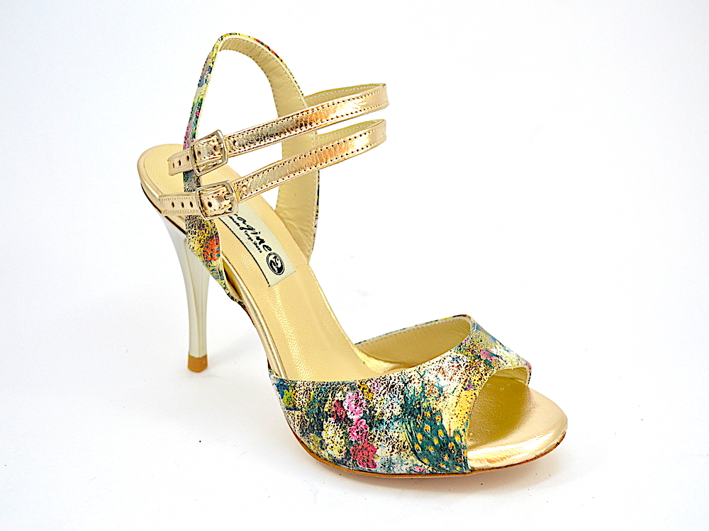 Women's Tango Shoes, open heel, in combination of floral and gold leather