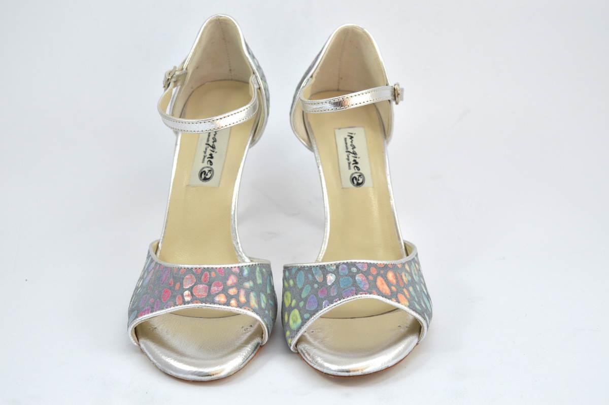 Γυναικείο παπούτσι tango open toe από ασημί-γκρι δέρμα με πολύχρωμα πουά σχέδια