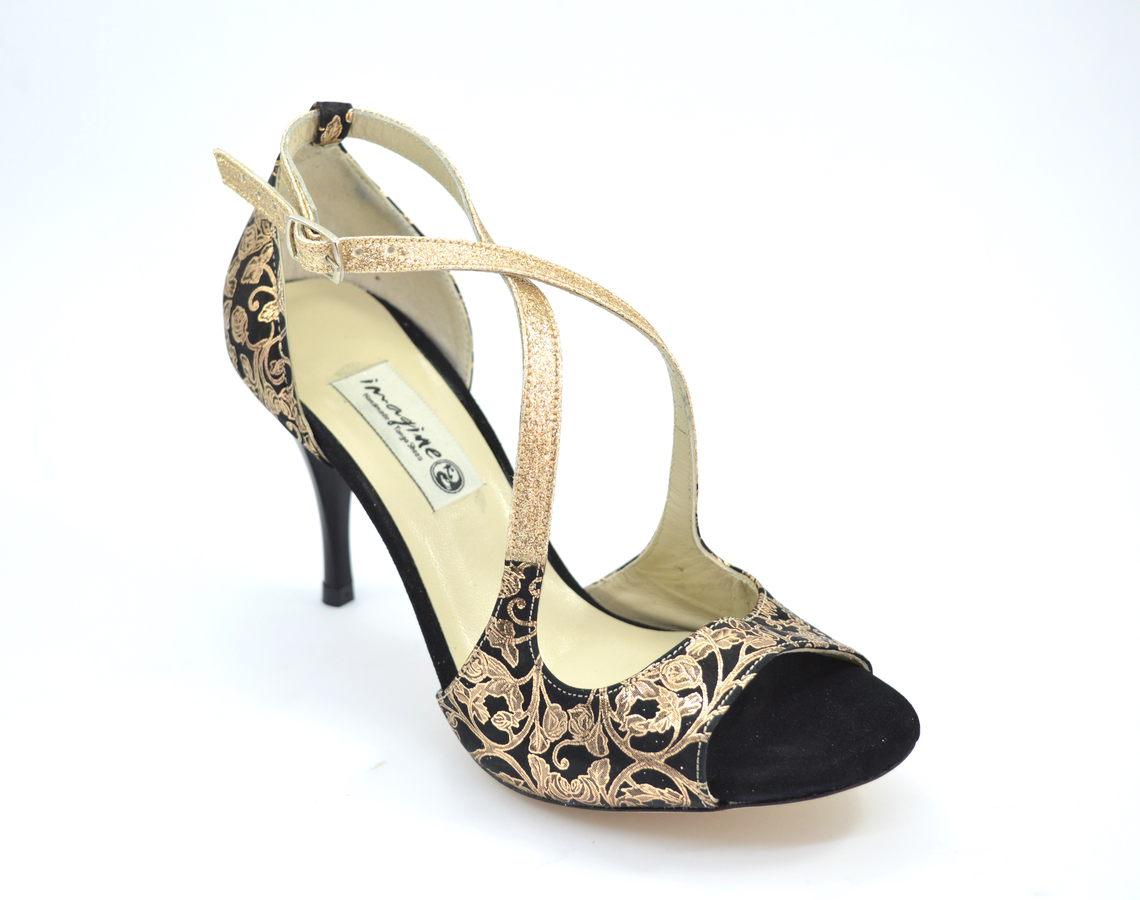 Γυναικείο Παπούτσι Tango Open Toe από εντυπωσιακό μαλακό χρυσό λαχούρι με μαύρο σουέτ δέρμα και χρυσό γκλίτερ