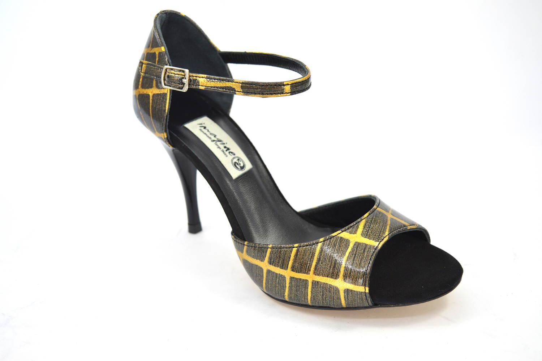 Γυναικείο παπούτσι χορού tango, open toe από πολύ ιδιαίτερο χρυσό-καφέ δέρμα και μαύρο σουέτ δέρμα