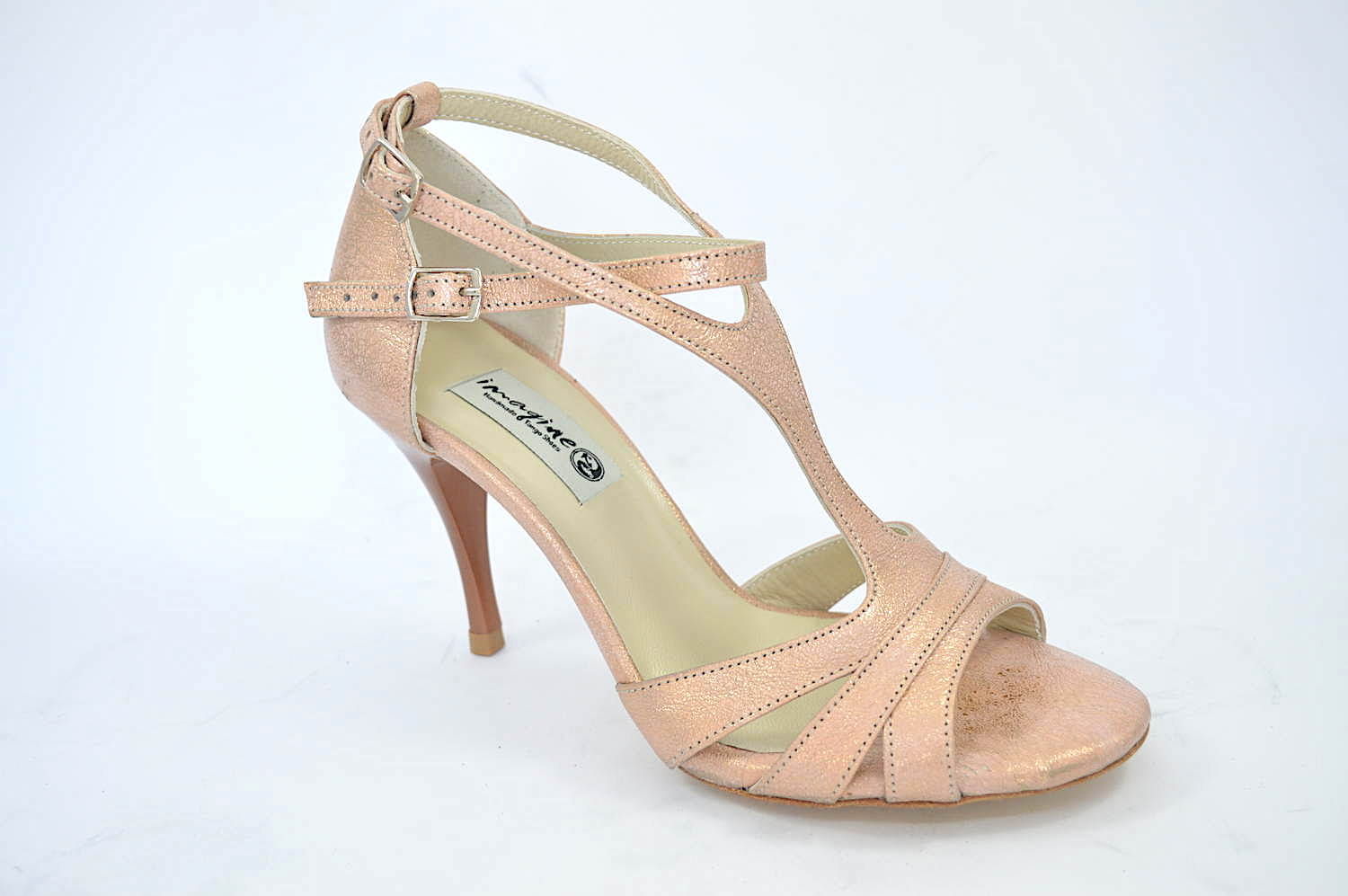 Women Argentine Tango Shoe, in unique beige-pink-gold soft leather