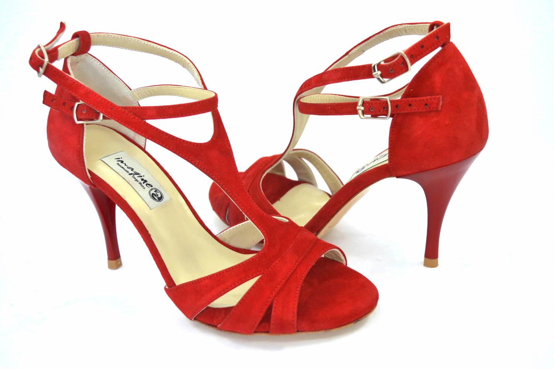 Γυναικείο παπούτσι tango argentino, open toe από εντυπωσιακό κόκκινο σουέντ δέρμα