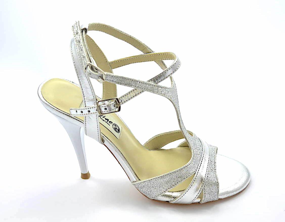 Γυναικείο ξώφτερνο παπούτσι tango από ασημί δέρμα και ασημί γκλίτερ