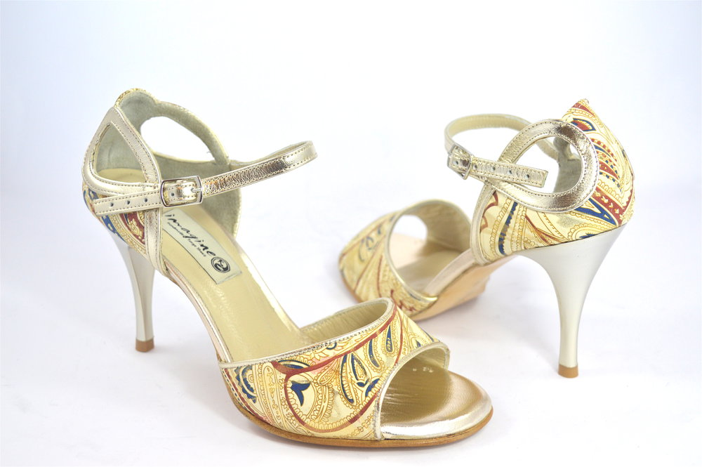 Γυναικείο παπούτσι χορού αργεντίνικου tango open toe από χρυσό-μπεζ με σχέδια δέρμα