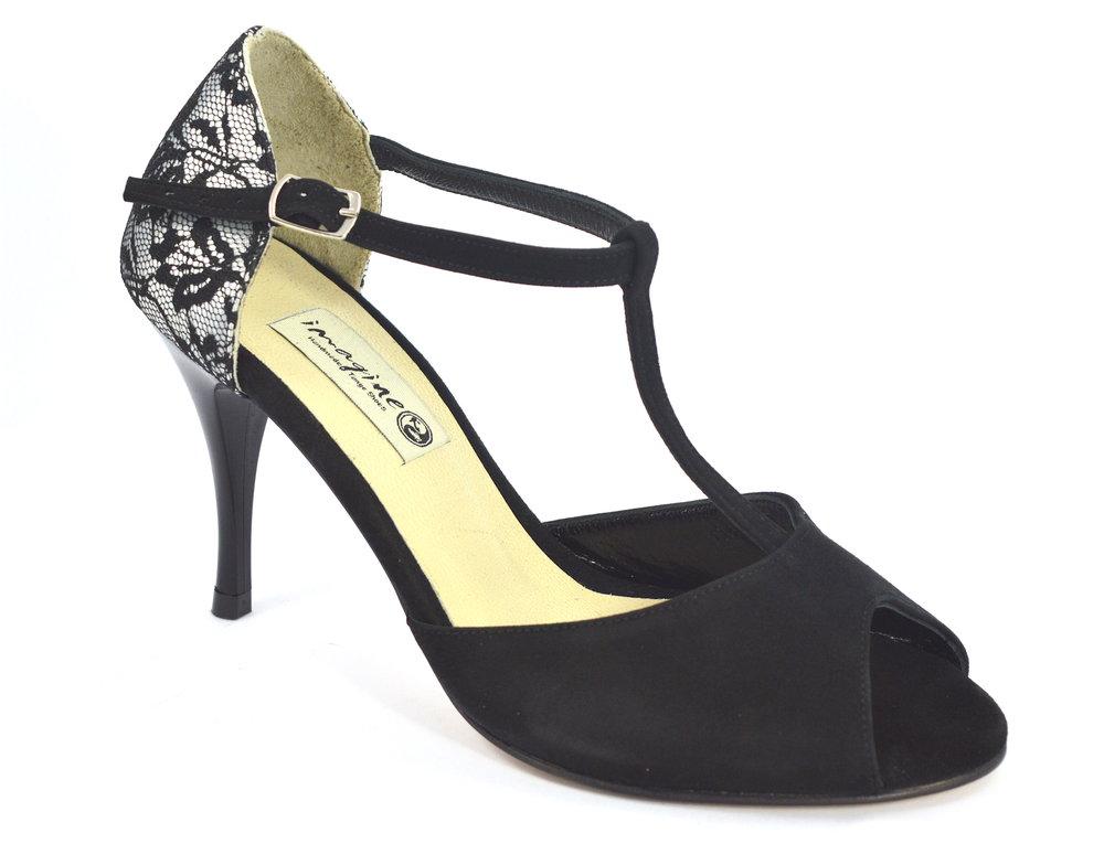 Γυναικείο παπούτσι tango peep toe από μαύρη δαντέλα και μαύρο σουέτ