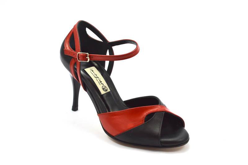 Γυναικείο παπούτσι tango peep toe από μαύρο και κόκκινο μαλακό δέρμα