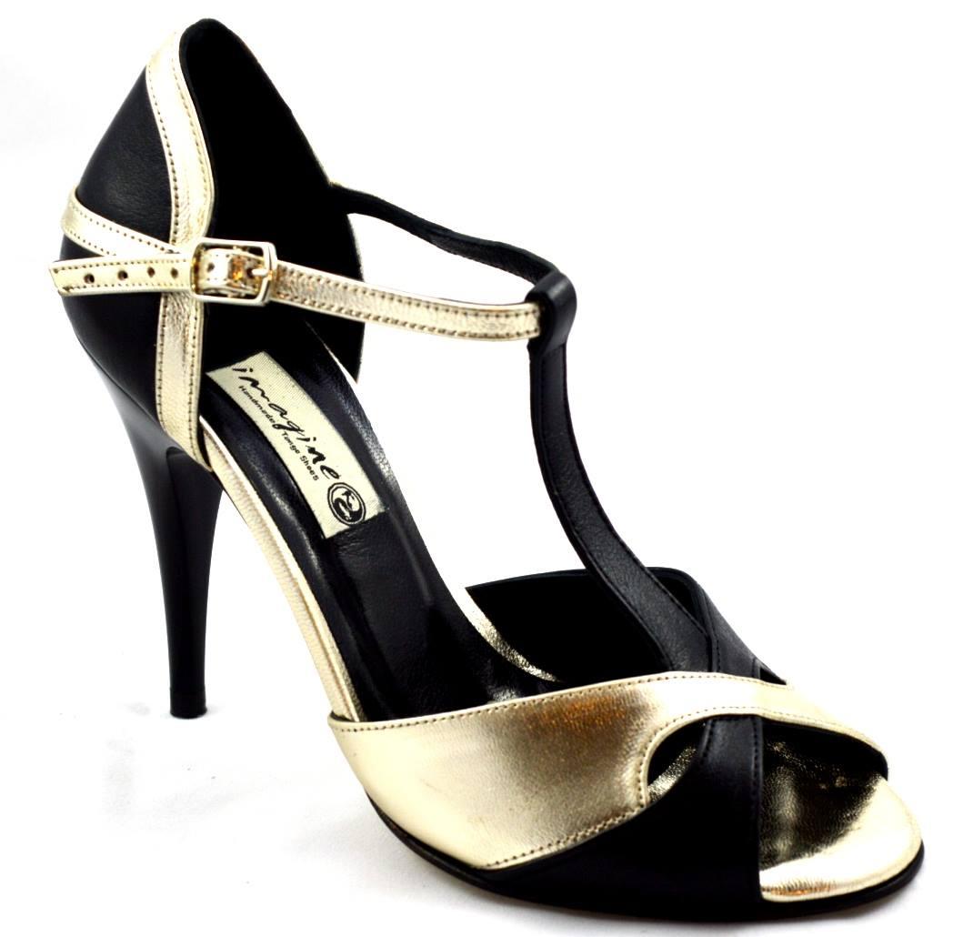 Γυναικείο παπούτσι tango peep toe από μαύρο και χρυσό μαλακό δέρμα