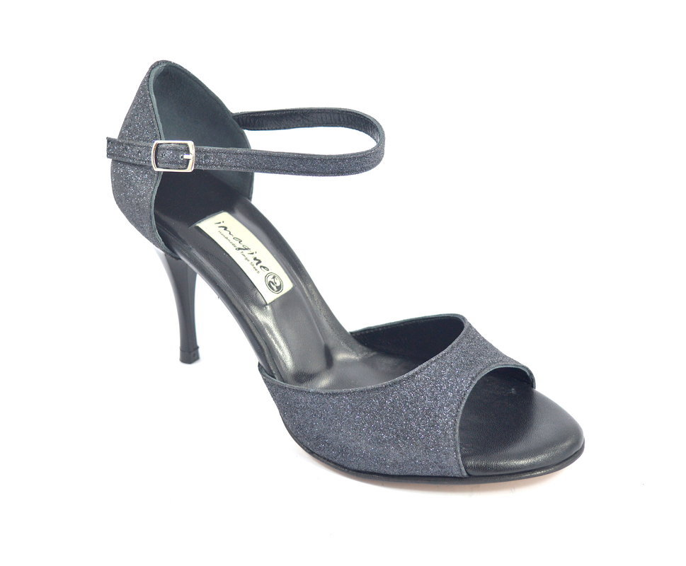 Γυναικείο παπούτσι open toe από μαύρο glitter και δέρμα με τακούνι 8,5εκ