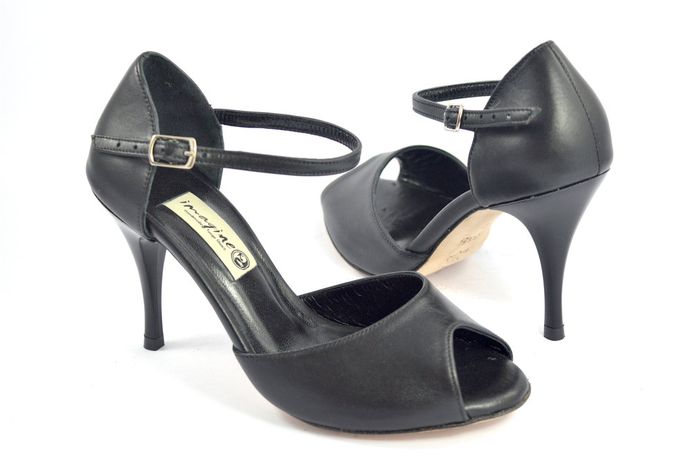 Γυναικείο Παπούτσι Tango Peep Toe από μαύρο δέρμα
