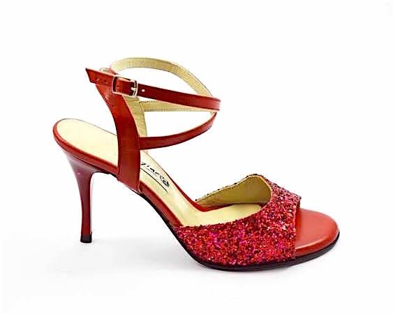 Γυναικείο παπούτσι tango open heel από κόκκινο δέρμα και glitter