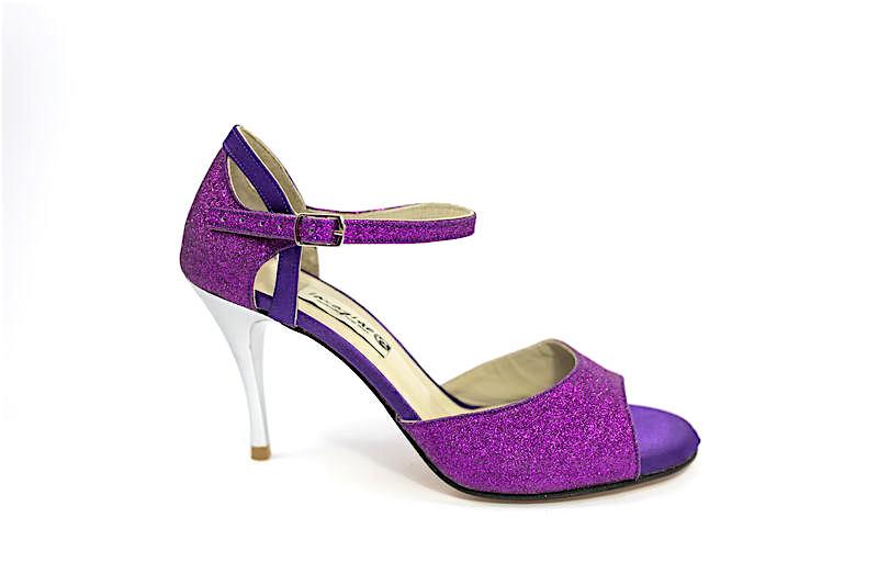 Γυναικείο παπούτσι tango open toe από μωβ γκλίτερ και μωβ σατέν