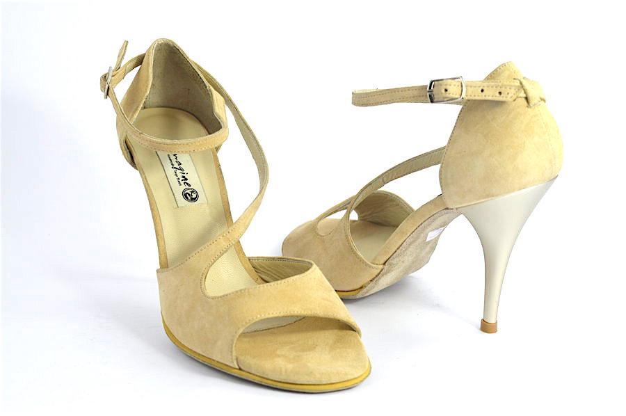 Γυναικείο Παπούτσι Tango Open Toe από μπεζ-nude σουέτ δέρμα