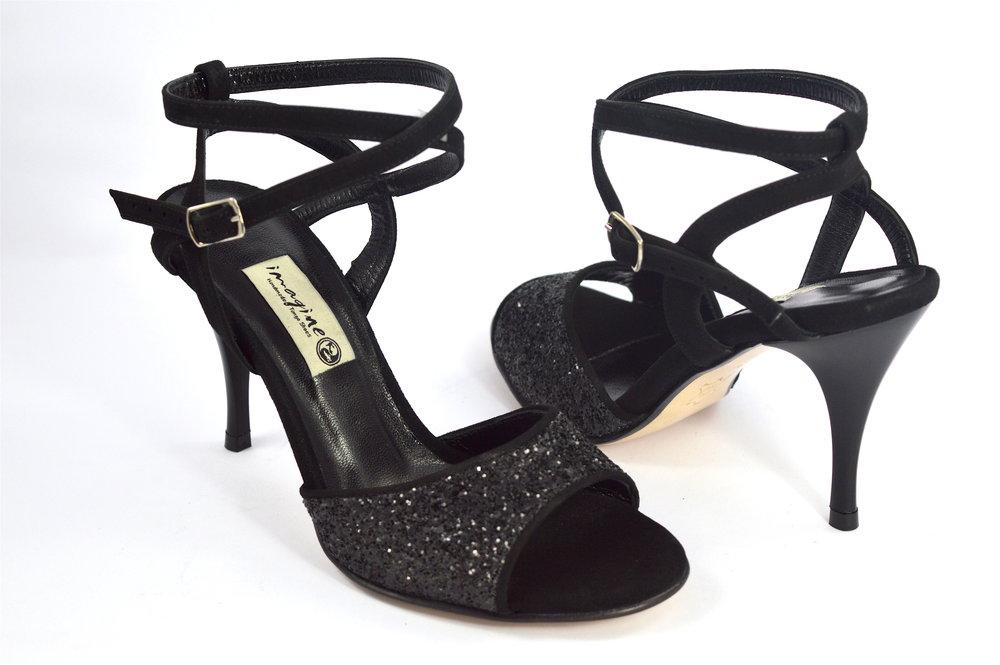 Γυναικείο παπούτσι tango open heel από μαύρο δέρμα και glitter