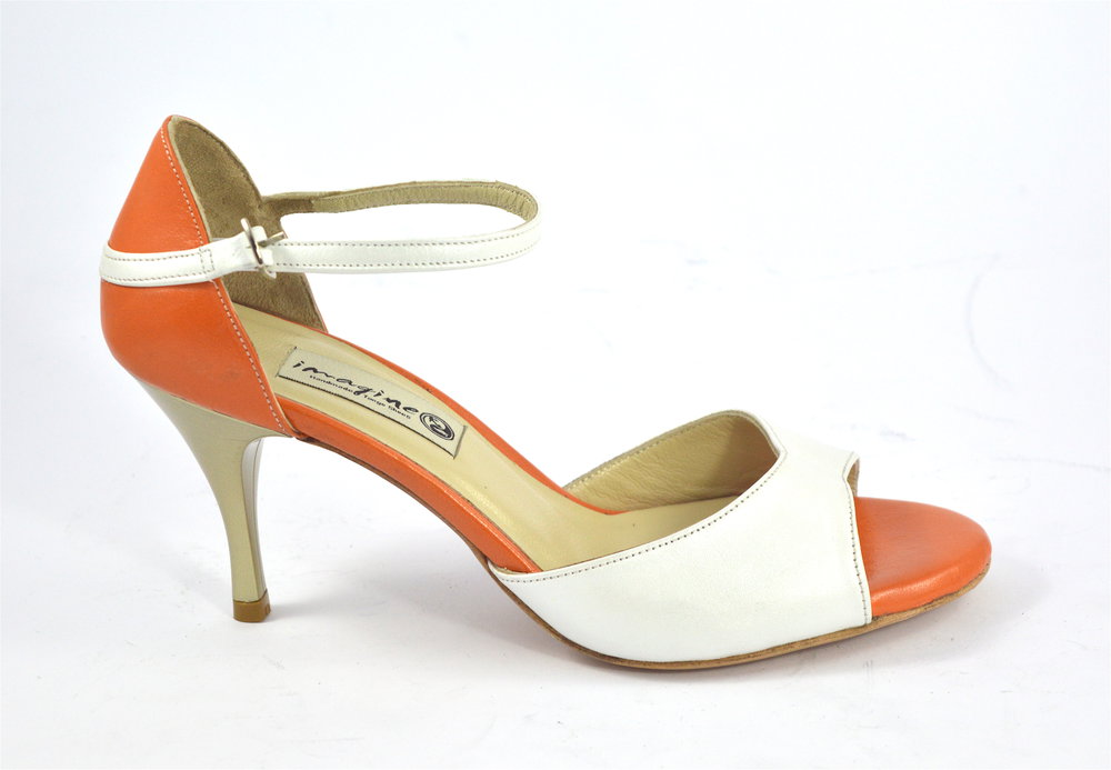 Γυναικείο παπούτσι tango, open toe από λευκό και πορτοκαλί δέρμα